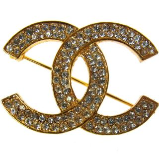 Auth CHANEL Vintage CC Logos Brooch Pin Gold tone Corsage Rhinestone