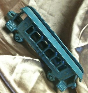 Antique Cast Iron Toy Train Passenger Car Great shape painted blue