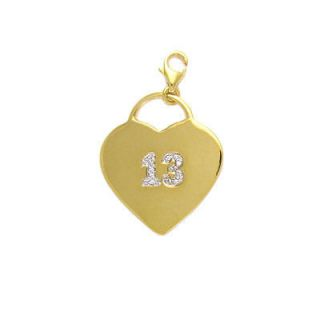 Cubic Zirconia Number 13 Luck Love Heart Charm   Clip on Pendant