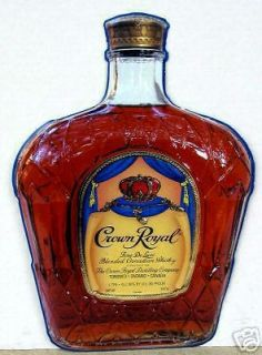 CROWN ROYAL CANADIAN WHISKEY BOTTLE SHAPPED METAL BAR SIGN
