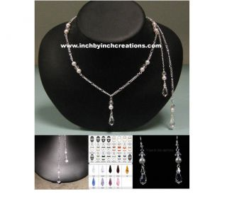 Swarovski Pearl Crystal Lariat Open Back Dress Tear Drop Necklace