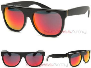 MATTE BLACK with RED FIRE Mirror Lens FLAT TOP Sunglasses super