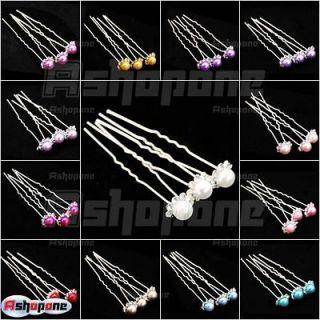 3x Bridal Girl Lady Crystal Rhinestone Pearl Flower Hair pins Hairpin
