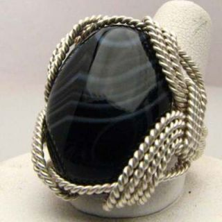 Hand Made Wire Wrap Stripped Onyx Sterling Silver Ring
