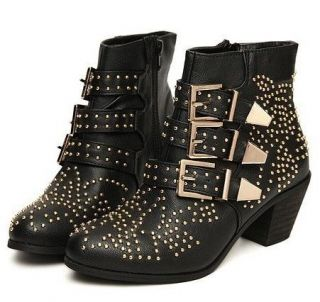 Womens fashion studded buckle cuban heels shoes ankle boots