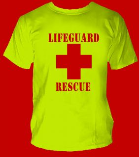 Safety Yellow Green Red Cross T Shirt HIGH VISIBILITY Pool,YMCA gift