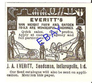1894 EVERI FARM & GARDEN OOL AD PLOW HOE SEEDSMAN