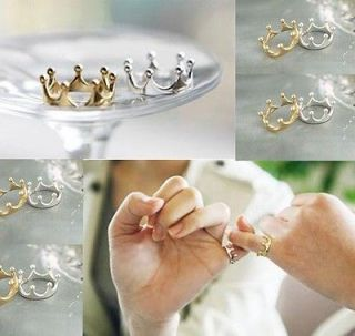 NEW Fashion Crown Shape Silver Gold Tone Adjustable Rings Free