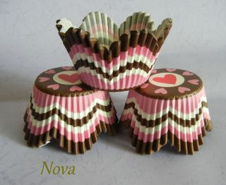 sweet heart brown petals cupcake liners bake paper cup muffin case