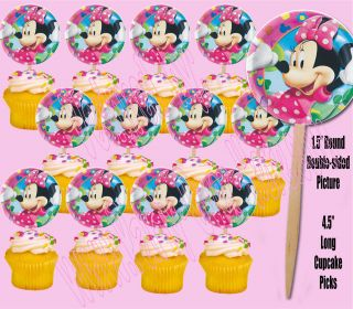 Disney Minnie Mouse 1.5 Cupcake Picks Cake Topper for Matching Plates