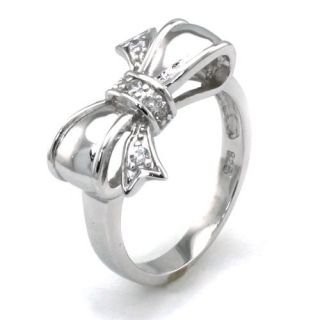 Tioneer Sterling Silver Cubic Zirconia Infinity Bow Ring
