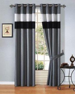 Silk Grey Black White Window Curtain Panel Set w/ White Sheer Lining