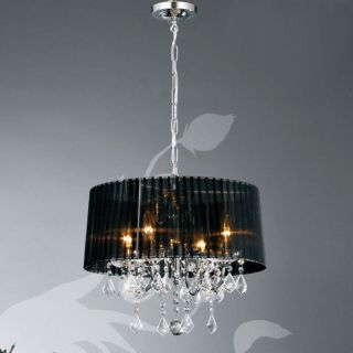 New Glass Crystal 4 Lamps 40w Fabric Shade Chandelier 4 Colors Black