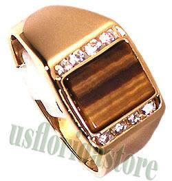 Mens Tiger Eye with CZ Stones 18kt Gold Plated Ring New
