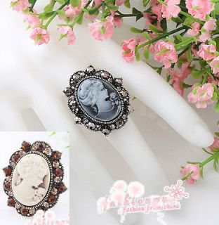 Ancient Bronze Plated/ Silver Plated Rhinestone Lady Oval Cameo ring
