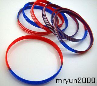 NEW 20PCS US   National flag Unisex Silicone bracelet Wristbands D55mm