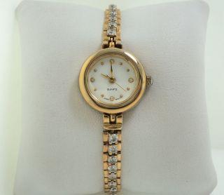 HMI Cubic Zirconia Gold Tone Ladies Watch