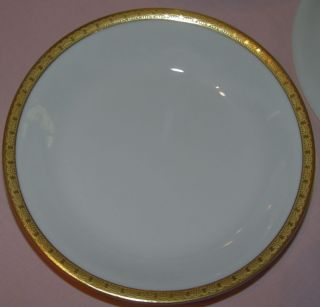 VICTORIA CZECHOSLOVAKIA CHINA  2 SALAD BOWLS 7.25 DIAM GOLD