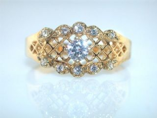 FRANKLIN MINT CZ STERLING SILVER GOLD PLATED FILIGREE RING