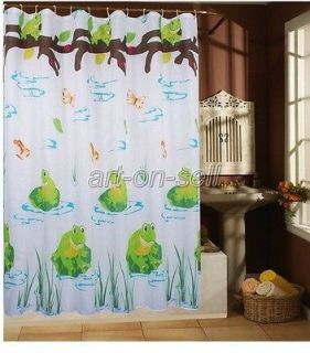 Green frog butterfly bathroom beautiful fabric shower curtain hs248