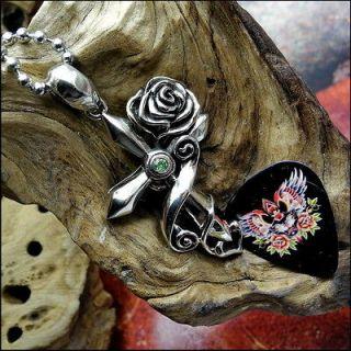 Guitar Pick Holder Pendant, Necklace Floral Cross, Green Gem, Wings