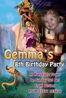 10 x DISNEY TANGLED RAPUNZEL   PERSONALISED PARTY INVITATIONS