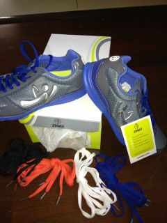 Zumba dance sneaker shoe Z Kickz II 8 ladies womens nib blue gray