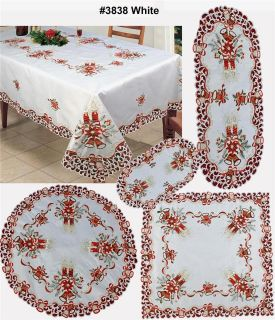 Poinsettia Bell Candle Placemat Table Runner Tablecloth Holiday #3838W
