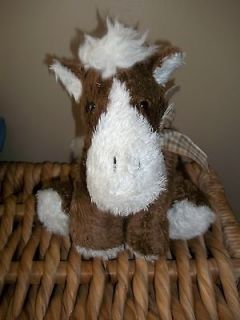 stuffed brown white plaid bow HUGGABLE HORSE Pony 12 dan dee lovey