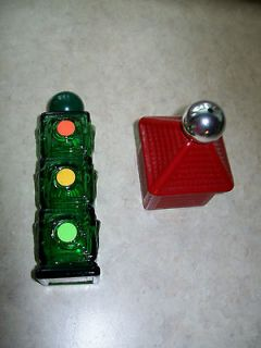 Vintage Avon, Green glass stop light and red weather vane decanters