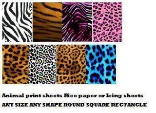 Edible cake topper Sheets Decorative Animal Prints Zebra Leopard Tiger