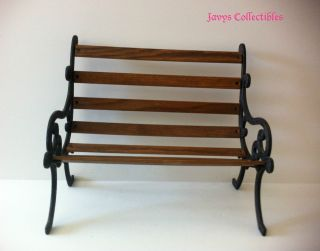 Cute Vintage Miniature Deacon Wood & Black Metal Bench Chair