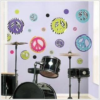 Zebra Print Peace Signs Wall Decals Kids Sticker