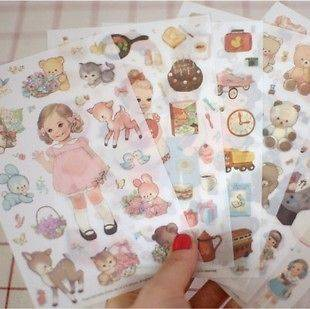 Doll Mate PVC Clear DIY Diary Album Decorative Sticker 6 Sheets Set