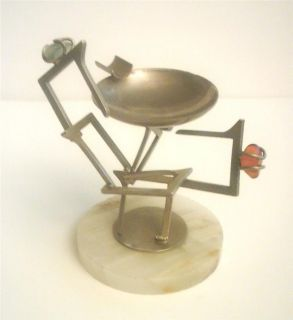 RETRO VINTAGE 1960S ASHTRAY  DENTAL CHAIR SCULPTURE  GEMSTONES