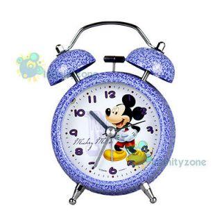 Disney Mickey Mouse Twin Bell Alarm Desktop Clock w Light #A NEW