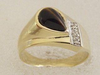 YELLOW GOLD MENS RIGHT HAND PINKY PEAR SHAPE TIGER EYE DIAMOND RING