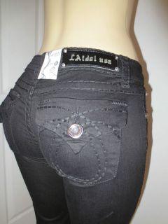 Idol Jeans Black w Black Loop Stitch Pocket Design Boot Cut Sizes 0 15