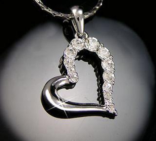 Gold gp Round Cut lab Diamond Large Open Heart Love Pendant Necklace