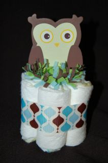 Mini Diaper Cake IN THE FOREST/OWL Boy Baby Shower Gift/Nursery