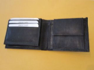 Newly listed GENUINE LEATHER FLIP UP ID WITH COIN POCKET WALLET BLACK