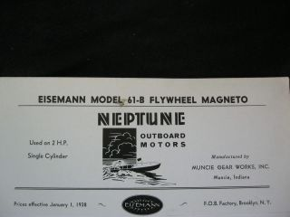 61 B NEPTUNE OUTBOARD MOTOR FLYWHEEL MAGNETO PARTS LIST & DIAGRAM