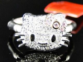 White Gold Hello Kitty Fashion Designer White Diamond Ring 1/4 Ct