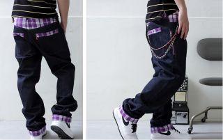 Mens Casual Glencheck Baggy Loose Hip Hop Denim Dance Trousers Wash