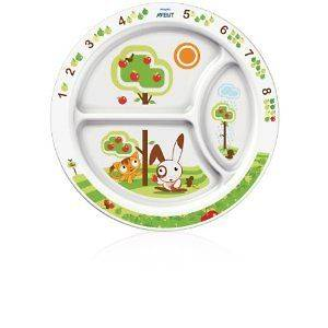 Avent Toddler Divided Dining Plate 9 White/Green BRAND NEW