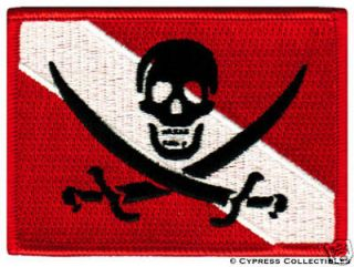 SCUBA DIVING PIRATE FLAG PATCH iron on JOLLY ROGER new