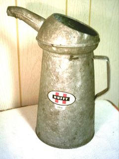 Vintage HUFFY Oil Can Dispenser C 4 4 Quarts Metal Spout Gas Station