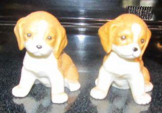 Interiors 8828 Puppy Dog Figurines Ceramic Puppies Dogs Brown White