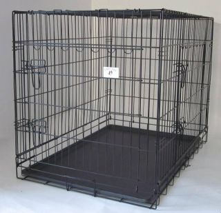 48 Portable Folding Dog Pet Crate Cage Kennel Two Door ABS Tray