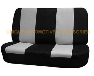DODGE 2PC GRAY AND BLACK POLYESTER CLOTH AUTO FRONT REAR BENCH SEAT